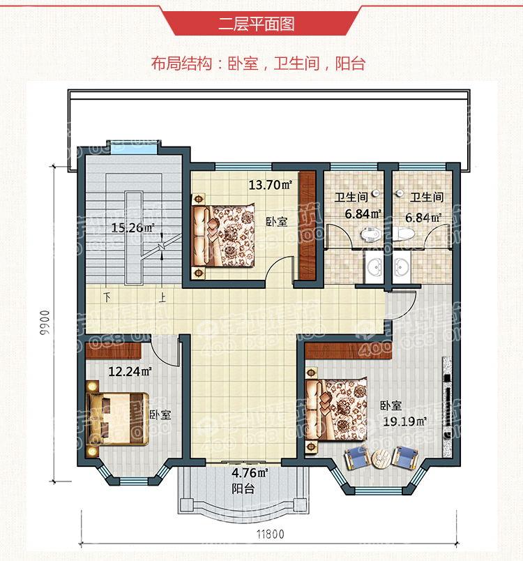 三层欧式带露台农村小别墅设计图