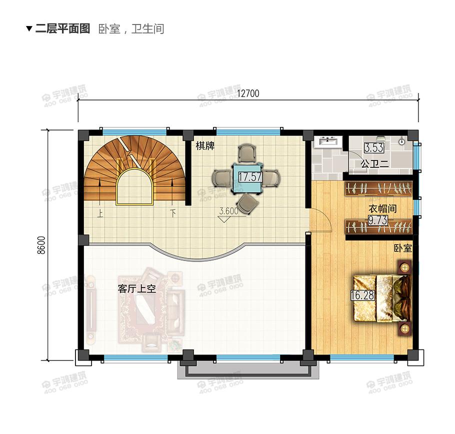 2019年新款110平米三层复式客厅农村别墅设计图纸