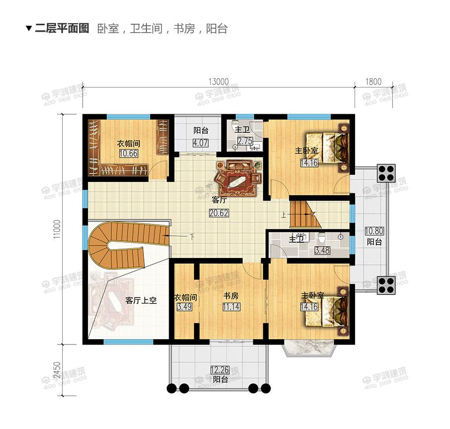 三层别墅设计图纸及效果图大全,带堂屋和露台,符合农村生活的布局值得一看
