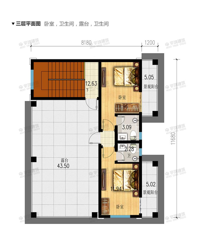 105平现代风格二层半农村小别墅设计图纸