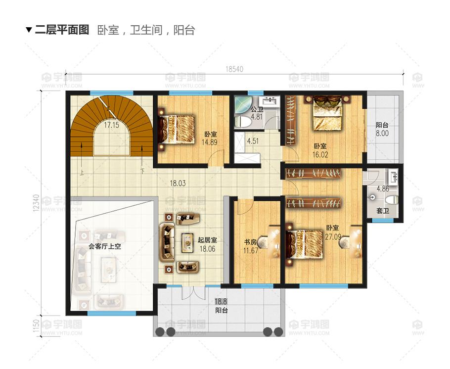 200平带旋转楼梯大气三层欧式别墅设计图纸及效果图片