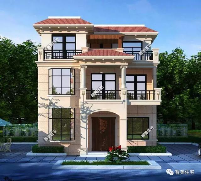 开间9-10米的两栋农村自建房设计图,第一栋平屋顶设计,造价26万