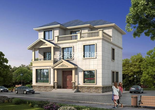 25万带大露台三层欧式别墅设计图纸及效果图,英气十足的房子,邻居都看呆了