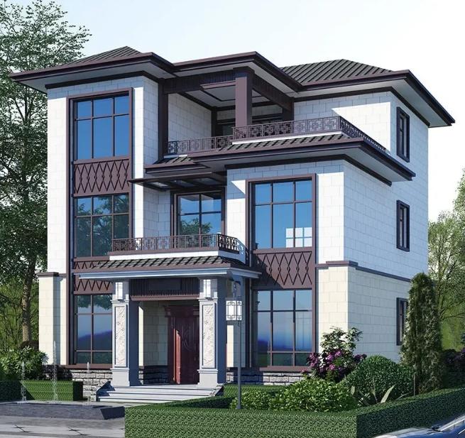 三层新中式农村别墅,外观简约朴实,2021年建房就选这款