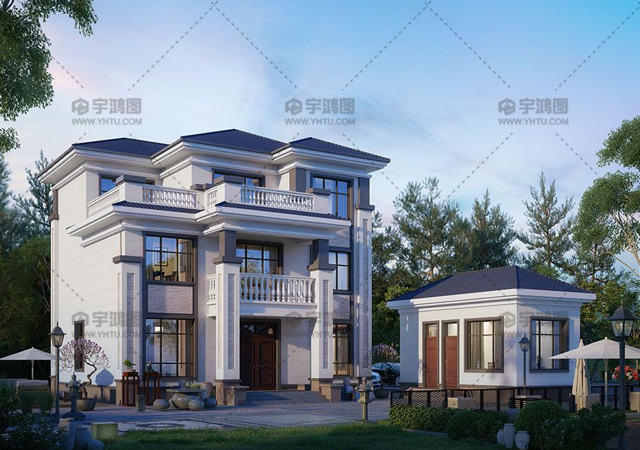 三层欧式带柴火房别墅设计效果图