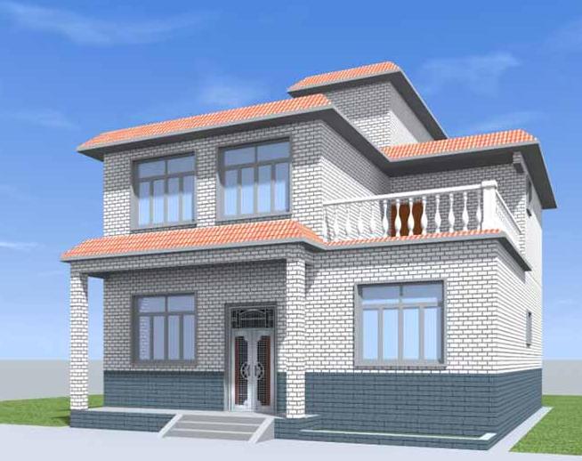 三层新中式豪华农村房屋设计图@你收藏!