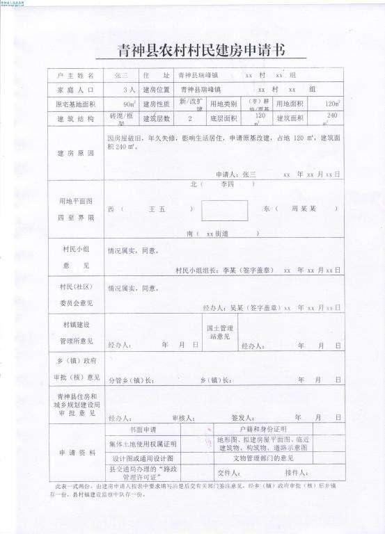2019年农村自建房申请书范文