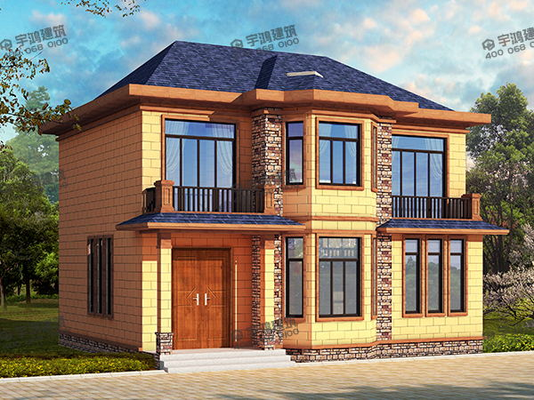 12x10米农村房屋设计图纸及效果图,15万元二层小楼配凸窗,黄色真石漆外墙面配蓝色屋面