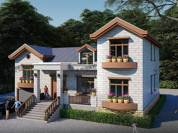 一层带阁楼的农村别墅设计图纸及外观效果图,农村自建房潮流下,迟早有一席之地