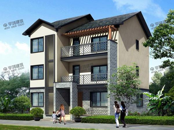 10x13米三层简单中式农村住宅设计图,带车库的田园风格自建房屋太具有吸引力