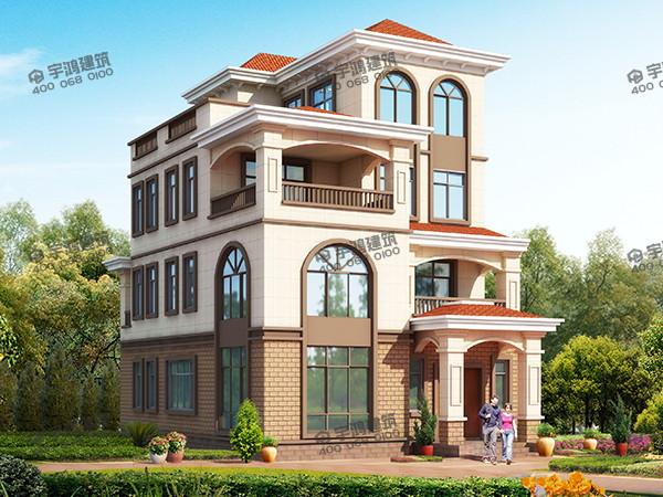 四层占地140平方米农村欧式别墅设计图纸,不仅美观,造价在35万以内