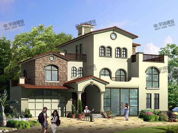40万建一栋漂亮豪华农村别墅,客厅挑空配旋转楼梯,带车库和健身房,室内外都非常大气