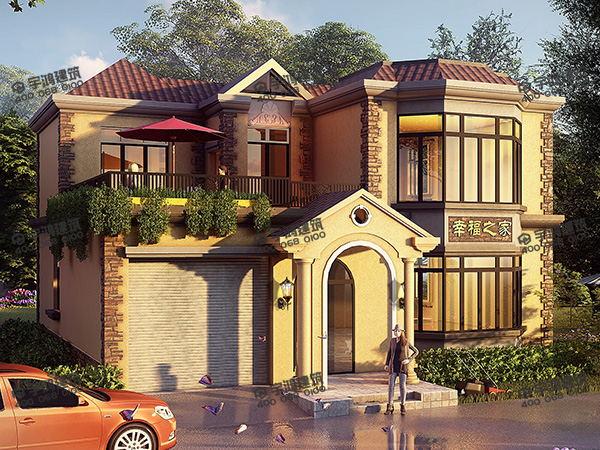 130平方米新农村二层小别墅设计图纸及效果图,英式设计带车库和露台,紧跟时代潮流