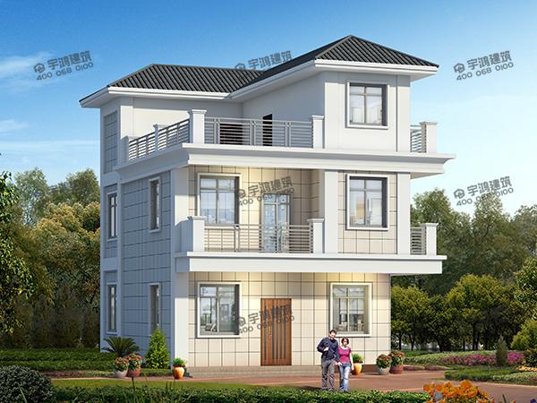 三层现代风农村别墅户型设计图,主体造价只要30万元,邻居们都来串