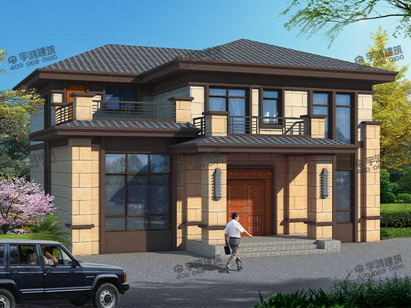12米x12米新农村自建房屋设计图纸,新中式风格外观,体现住宅的简洁舒适
