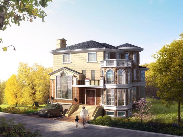 三层带地下室别墅设计,欧式风格,八角窗和入户台阶太独特