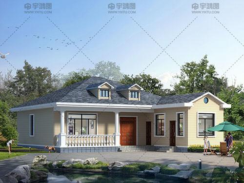 14x16.5米一层美式农村别墅户型设计图纸及效果图,美观实用带堂屋,在农村已经颇具名气