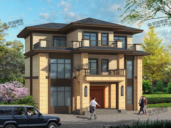 新亚洲风格农村别墅户型设计图,户型方正,三层主体造价只需25万