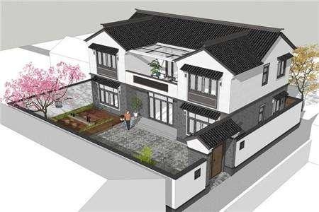 【别墅设计图-别墅设计图纸大全—宇鸿建筑设计】中式二层别墅设计,典雅复古你爱吗?