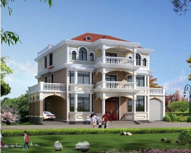 【别墅设计图-别墅设计图纸大全—宇鸿建筑设计】一栋三层别墅完美满足三户人的生活需求!