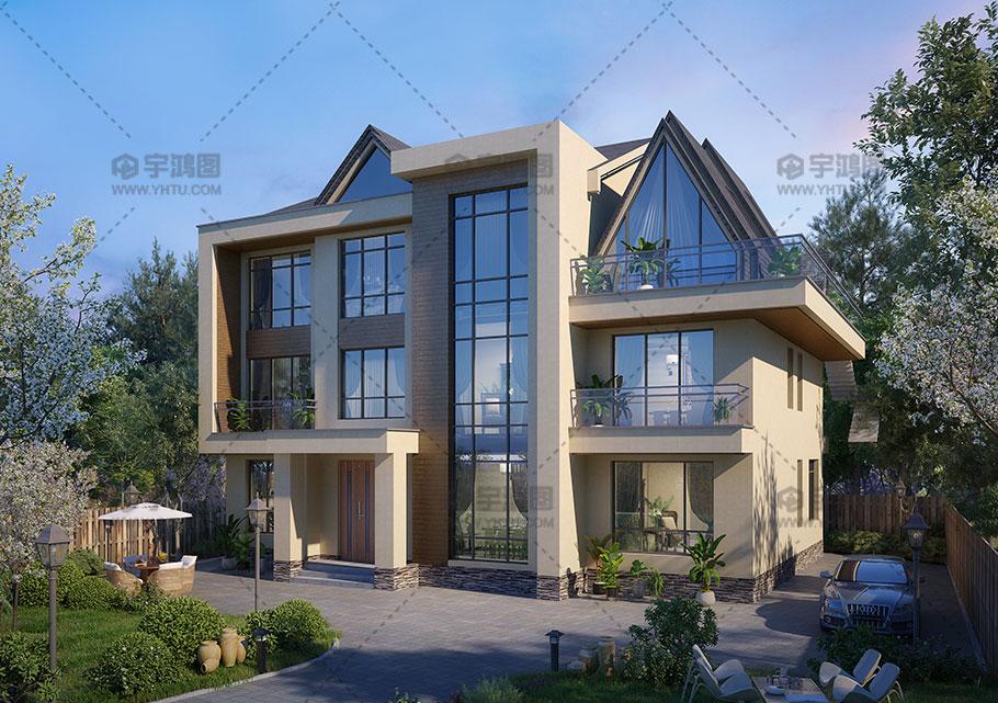 三层现代别墅设计效果图
