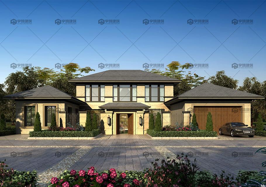 两层带车库别墅设计效果图