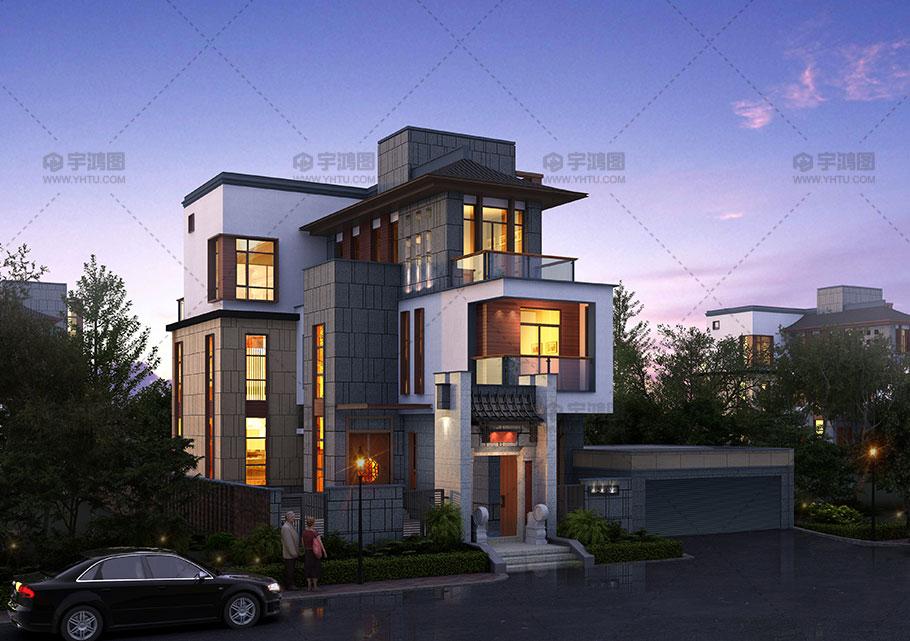 漂亮三层现代别墅设计效果图
