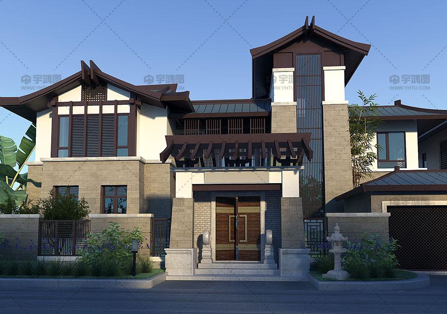 三层漂亮新中式别墅设计效果图