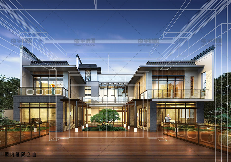 H型现代风别墅设计效果图