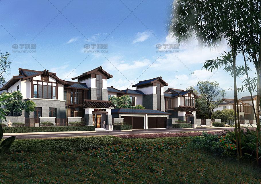 三层简约新中式别墅设计效果图