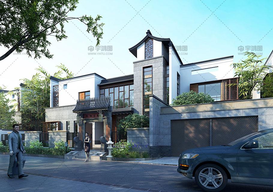 高端新中式别墅设计效果图