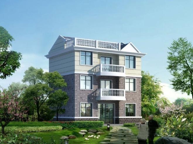 三层农村别墅图,架空层+地下室+小偏房设计方案