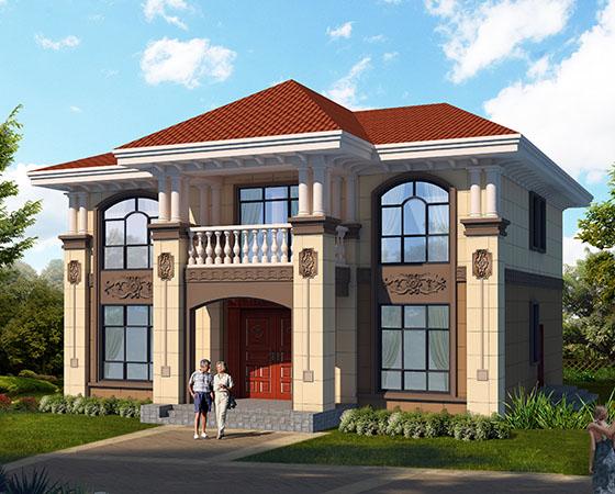 13x14m二层农村欧式自建房设计图
