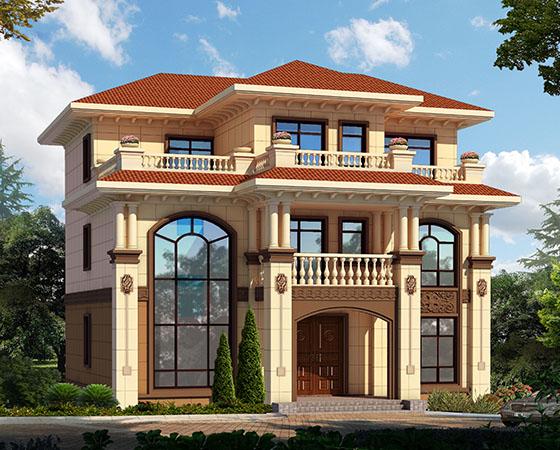三层欧式漂亮农村自建复式小别墅设计图