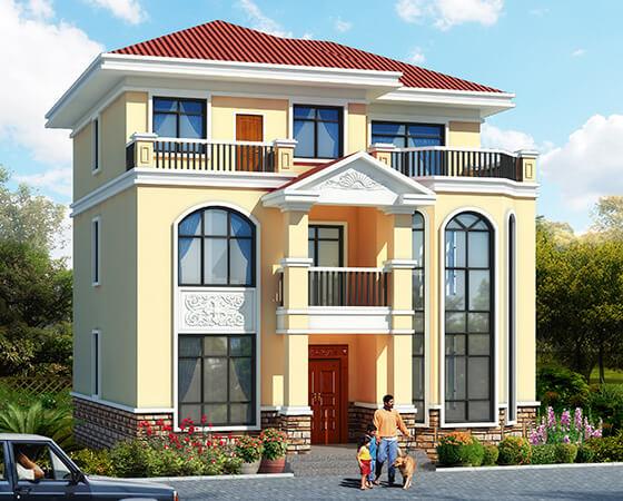 11x12米复式三层农村别墅设计图纸