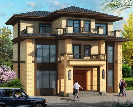 12x12米新亚洲风格复式农村别墅设计图纸