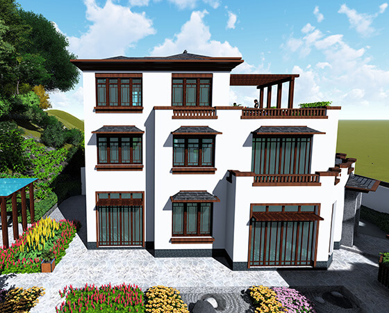 17x11米新中式别墅设计图纸