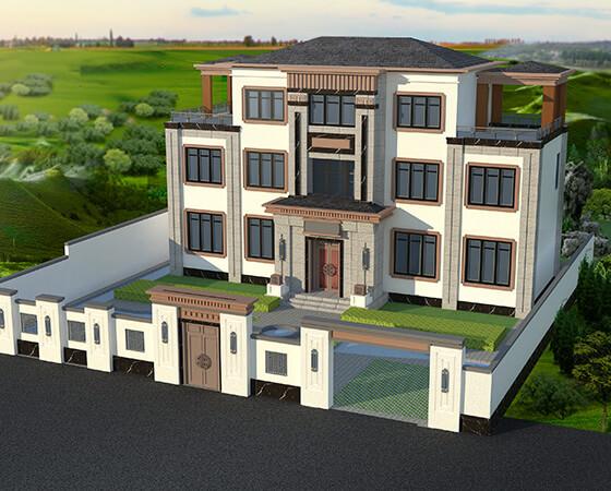 18x9米框架结构新中式别墅设计图纸
