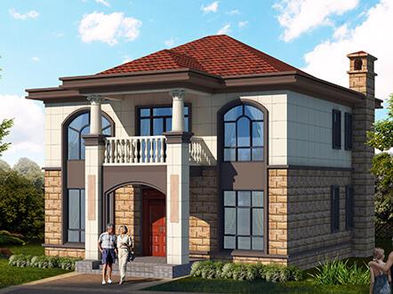 129平舒适二层美式农村别墅设计图纸