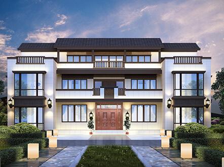新中式豪华气派新农村别墅设计图