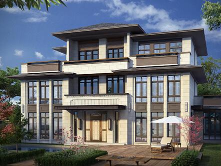 新亚洲风格三层农村自建别墅设计图纸