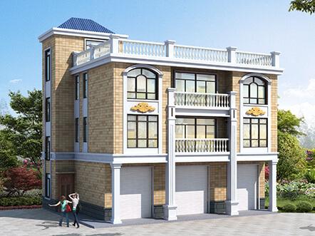 2019年新款16x12米别墅设计图纸及外观效果图,带商铺,实用性倍增
