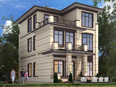 100平新中式农村别墅设计图,三层造价才20万