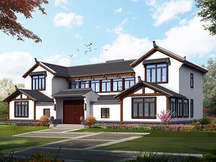 250平米农村四合院别墅设计图及外观效果图