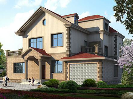 200平米带车库农村二层独栋别墅设计图纸及效果图