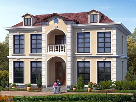 二层带老虎窗欧式农村别墅户型图片,25万带挑空客厅