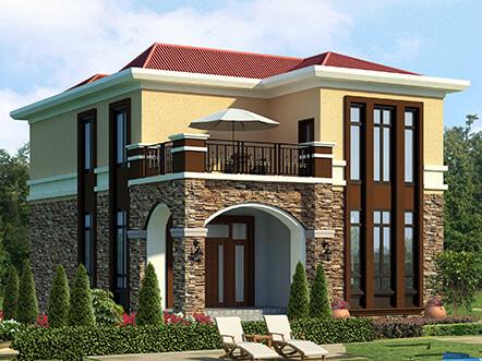 带露台的西班牙风格二层小农村别墅户型及效果图