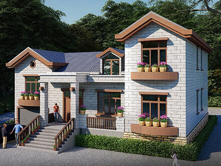 新型农村一层半小别墅设计图,美观实用带阁楼
