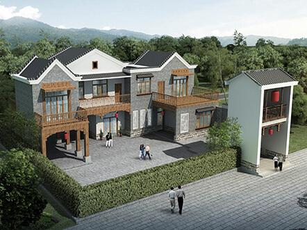 清新别致二层乡村中式带庭院别墅设计图纸及效果图