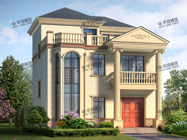 高端大气三层农村别墅设计图,带挑空客厅,框架结构